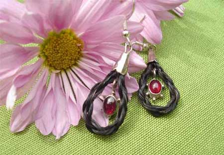 Black Horse Hair and Garnet Earrings