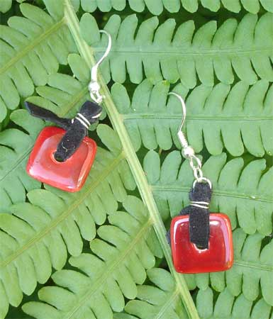 Red Porcelain and Suede Earrings