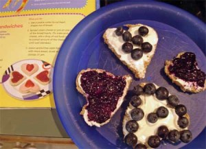 Blueberry cream cheese hearts. Yum!