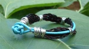 The bracelet is reversible so you can wear the horse hair side out or the leather side out.