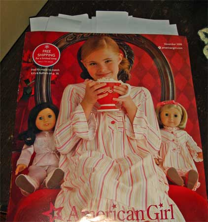 The American Girl Catalog with a multitude of sticky notes spewing out the top.