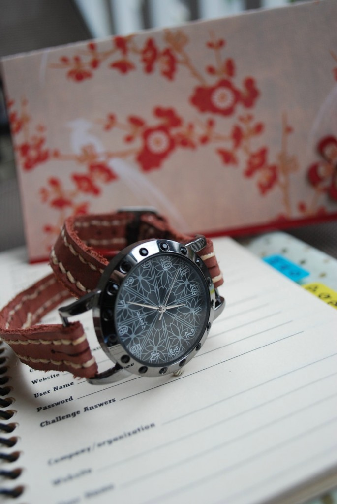 Double wrap watch, password journal and handmade card.